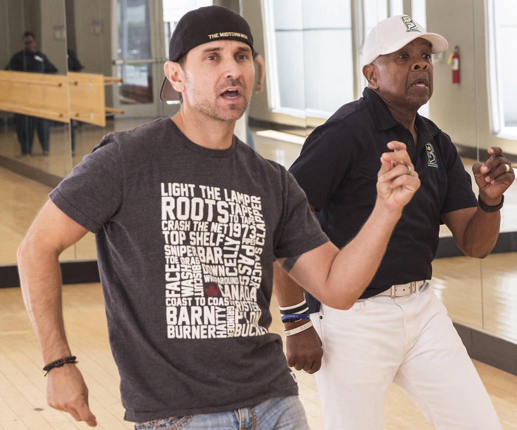 """Travis Cloer, left, and Bubba Knight rehearse for Broadway in the Hood's show """"From Broadway With Love,"""" on Tuesday, June 27, 2017, at Loft 5's studio, in Las Vegas. Benjamin Hager Las Vegas Revie ..."""