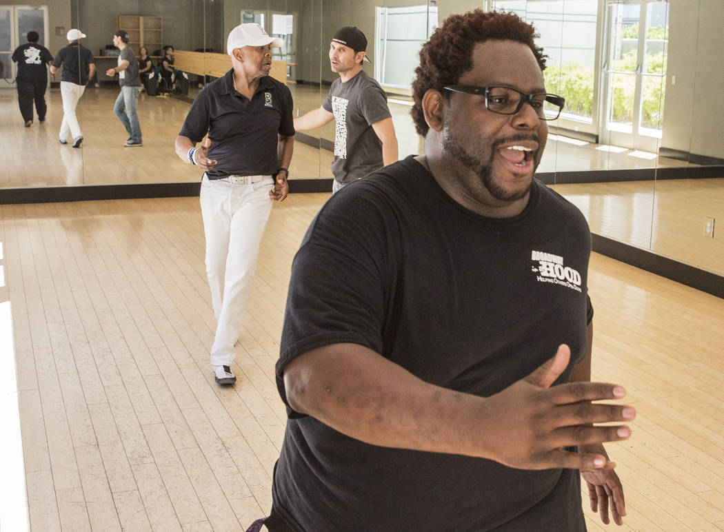 """Director Torrey Russell, right, works with Bubba Knight, middle, and Travis Cloer during rehearsal for Broadway in the Hood's show """"From Broadway With Love,"""" on Tuesday, June 27, 2017, Loft 5's st ..."""