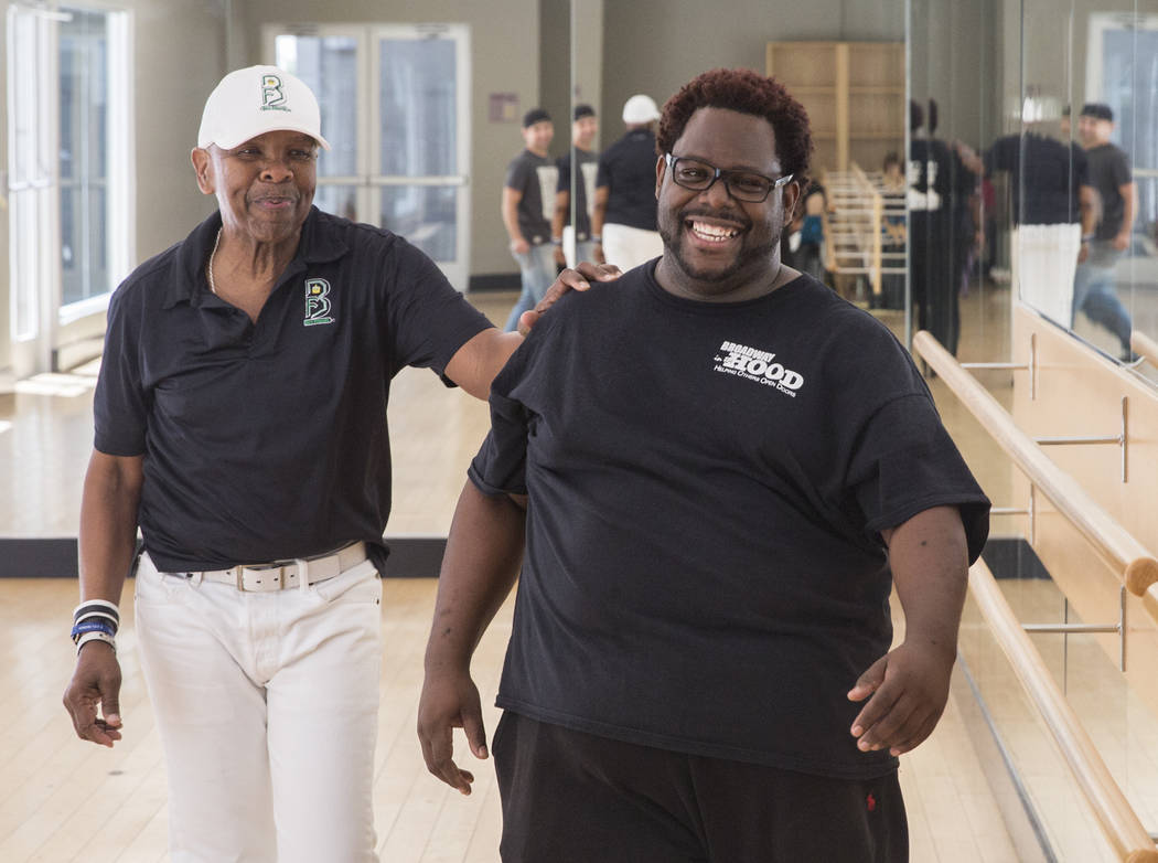 """Director Torrey Russell, right, works with Bubba Knight during rehearsal for Broadway in the Hood's show """"From Broadway With Love,"""" on Tuesday, June 27, 2017, at Loft 5's studio, in Las Vegas. Ben ..."""