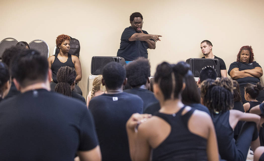 "Director Torrey Russell, middle, works with kids during rehearsal for Broadway in the Hood's show ""From Broadway With Love,"" on Wednesday, June 28, 2017, at First AME Church, in Las Vegas. Benjami ..."