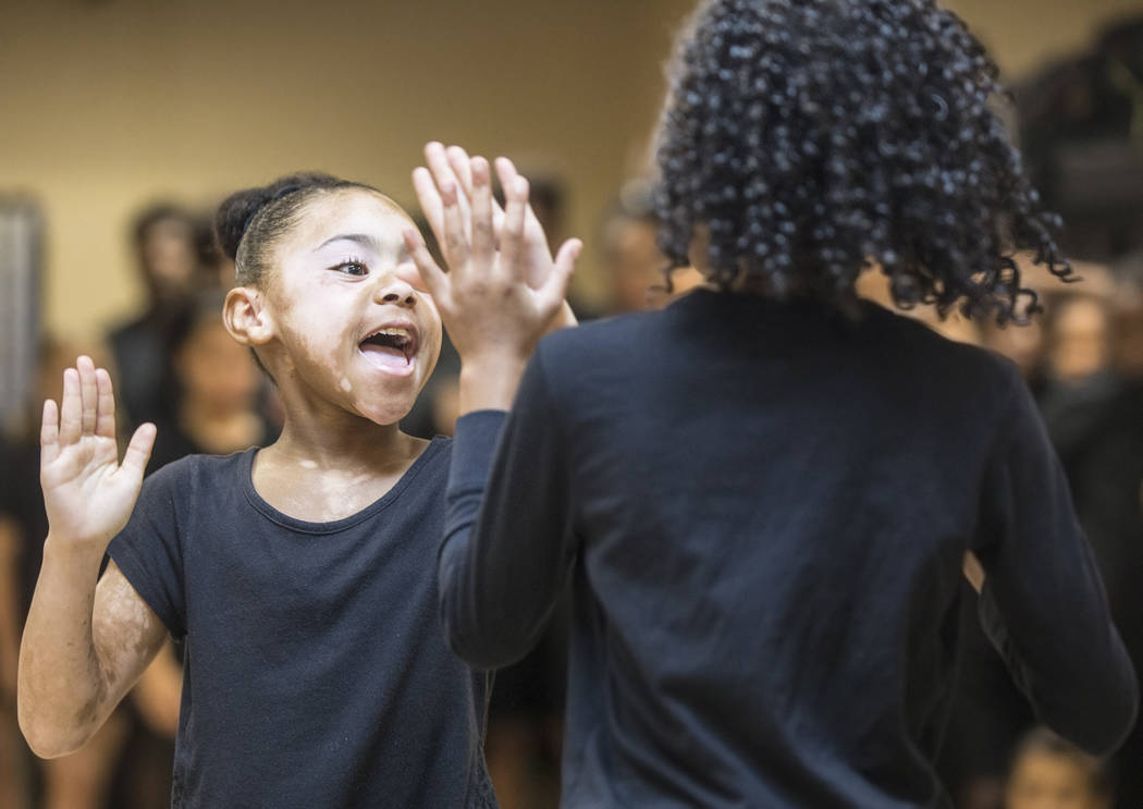 "Anna German, left, works through a scene during rehearsal for Broadway in the Hood's show ""From Broadway With Love,"" on Wednesday, June 28, 2017, at First AME Church, in Las Vegas. Benjamin Hager  ..."