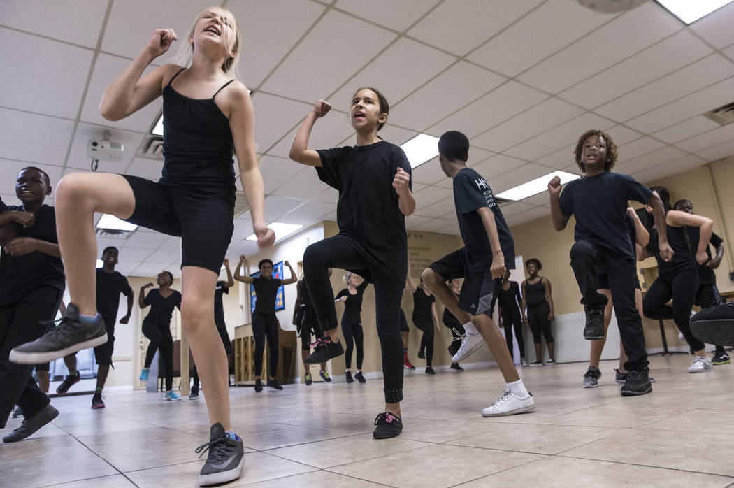 """Rori Waters, left, rehearses for Broadway in the Hood's show """"From Broadway With Love,"""" on Wednesday, June 28, 2017, at First AME Church, in Las Vegas. Benjamin Hager Las Vegas R ..."""