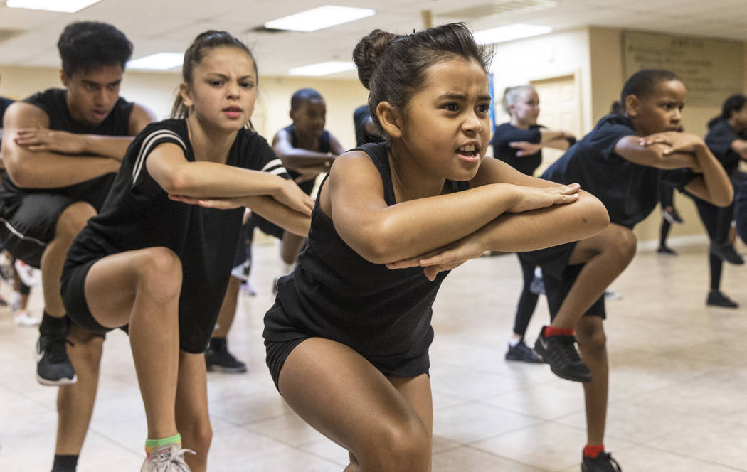 """Estefania Valladeres, second from right, rehearses for Broadway in the Hood's show """"From Broadway With Love,"""" on Wednesday, June 28, 2017, at First AME Church, in Las Vegas. Benj ..."""