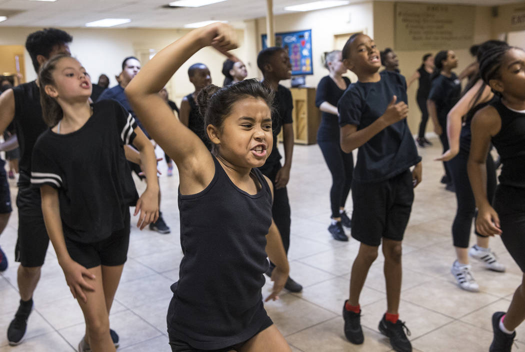 """Estefania Valladeres, middle, rehearses for Broadway in the Hood's show """"From Broadway With Love,"""" on Wednesday, June 28, 2017, at First AME Church, in Las Vegas. Benjamin Hager  ..."""