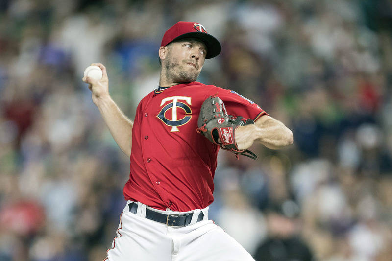 Jul 7, 2017; Minneapolis, MN, USA; Minnesota Twins relief pitcher Brandon Kintzler (27) delivers a pitch in the ninth inning against the Baltimore Orioles at Target Field. Mandatory Credit: Jesse  ...