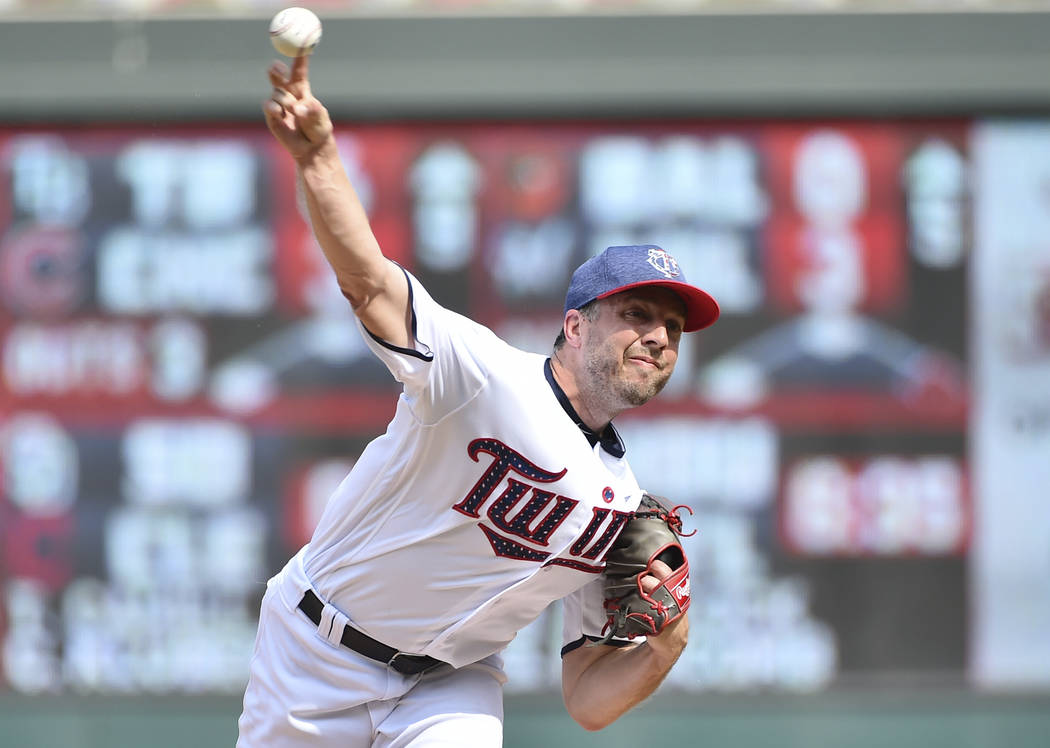 Minnesota Twins closer Brandon Kintzler pitches to the Los Angeles Angels in the ninth inning of a baseball game, Tuesday July 4, 2017, in Minneapolis. The Twins won, 5-4. (AP Photo/John Autey)