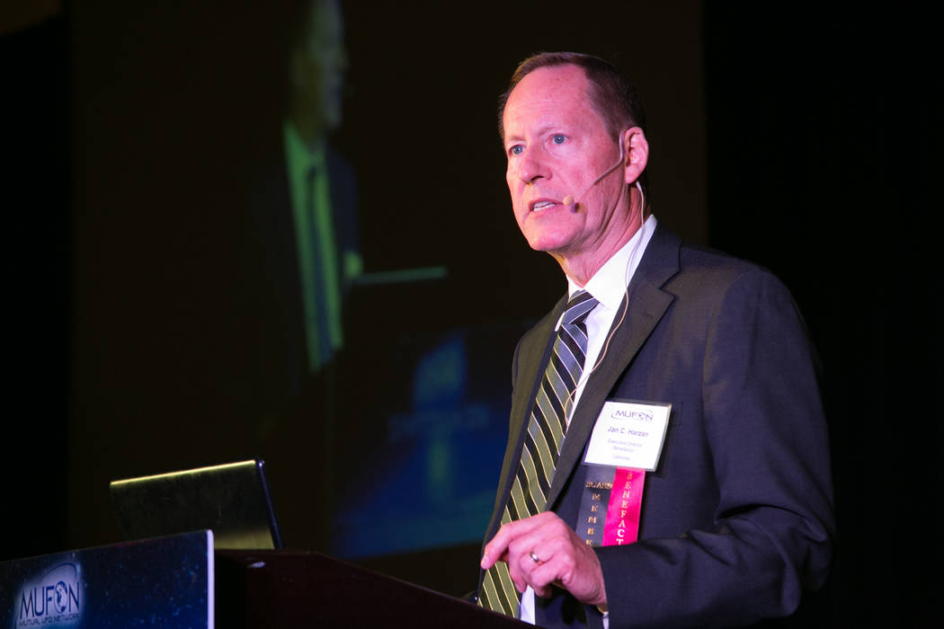 Mutual UFO Network executive director Jan Harzan speaks during the 2016 MUFON symposium in Orlando, Florida.  (Sunshine Photographics)