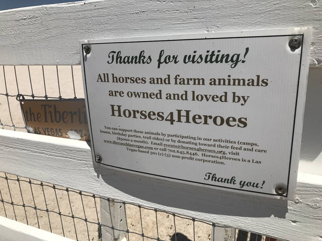 A sign at the Horses4Heroes' Community Equestrian Center at Floyd Lamb Park at Tule Springs on June 27. (Kailyn Brown/View) @KailynHype