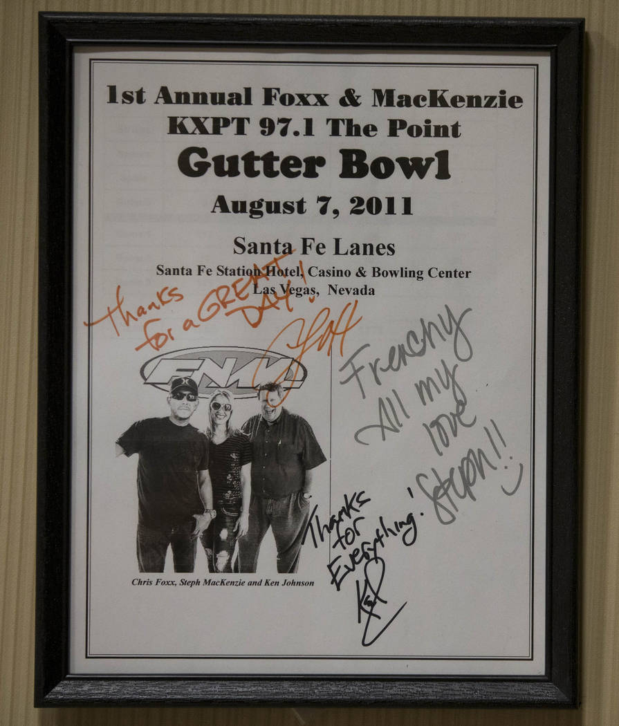 "An autographed memento hangs in the work room of Victor ""Frenchy"" Letourneau at the Santa Fe Station Bowling Center on Wednesday, June 28, 2017. Richard Brian Las Vegas Review-Journal @vegasphotograph"