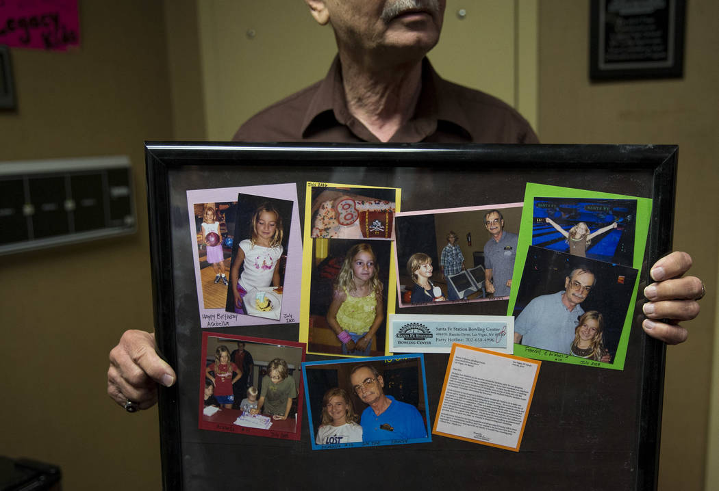 "North Las Vegas resident Victor ""Frenchy"" Letourneau, 72, events ambassador for Santa Fe Station, shows off a gift he received from a family at the Santa Fe Station Bowling Cente ..."