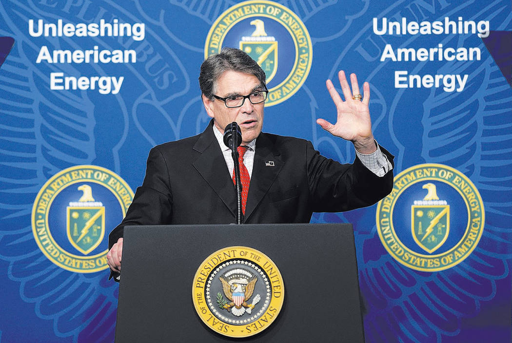 Energy Secretary Rick Perry speaks at the Department of Energy in Washington, Thursday, June 29, 2017. (AP Photo/Susan Walsh)