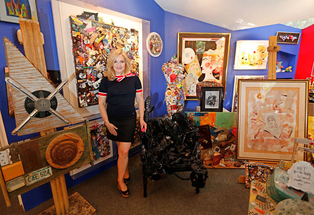 """Heidi Straus shows her mother-in-law Joyce Straus' artworks at The """"House of Straus"""" in Las Vegas, Monday, June 26, 2017. (Chitose Suzuki Las Vegas Review-Journal) @chitosephoto"""