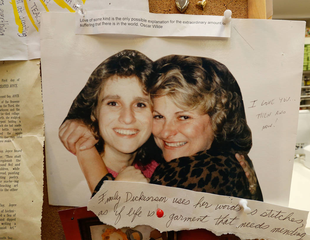 """A photograph of artist Joyce Straus, left, with her daughter Susan Stoehr is pinned on the board at The """"House of Straus"""" in Las Vegas, Monday, June 26, 2017. (Chitose Suzuki Las ..."""