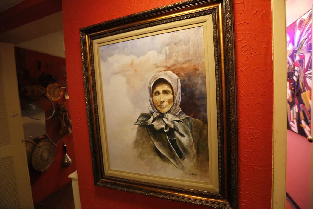 "A Joyce Straus' artwork portraying her grandmother Rebecca Sagransky at The ""House of Straus"" in Las Vegas, Monday, June 26, 2017. (Chitose Suzuki Las Vegas Review-Journal) @chit ..."