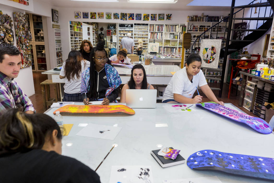 West Prep students partake in an art summer camp at the late Joyce Straus' home in Las Vegas, Thursday, July 13, 2017. Elizabeth Brumley Las Vegas Review-Journal