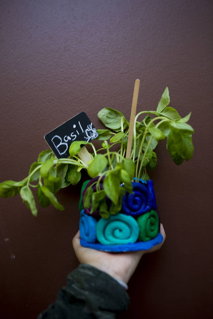 West Prep student Natalie Maldonado, 13, holds a homemade clay pot and planted herb she made at an art summer camp at the late Joyce Straus' home in Las Vegas, Thursday, July 13, 2017. Elizabeth B ...