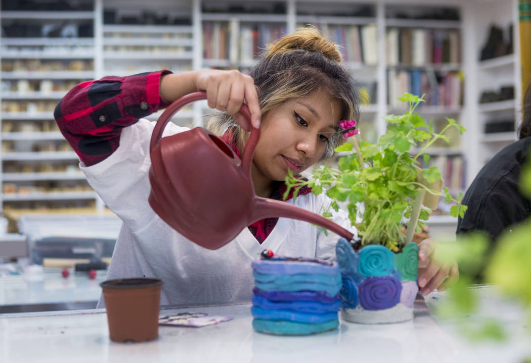 West Prep student Kelsey Reyes-Perez partakes in an art summer camp at the late Joyce Straus' home in Las Vegas, Thursday, July 13, 2017. Elizabeth Brumley Las Vegas Review-Journal