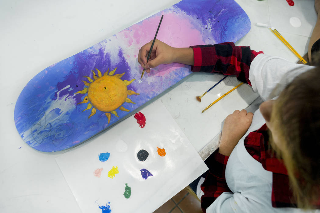 West Prep students partake in a art summer camp at the late Joyce Straus' home in Las Vegas, Thursday, July 13, 2017. Elizabeth Brumley Las Vegas Review-Journal
