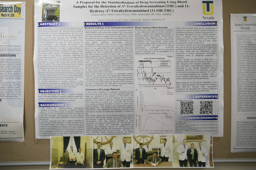 Charles Cullison and Graham Lambert's proposal for standardizing blood samples for marijuana DUI testing is posted on the wall at the Touro University campus in Henderson, Thursday, June 29, 2017. ...