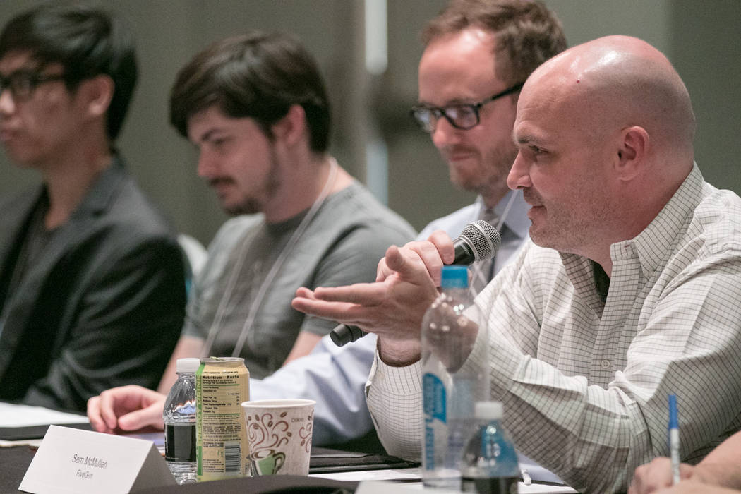 Sam McMullen speaks about his background with FiveGen at Downtown Grand hotel-casino on Tuesday, June 27, 2017, in Las Vegas. (Morgan Lieberman/Las Vegas Review-Journal)