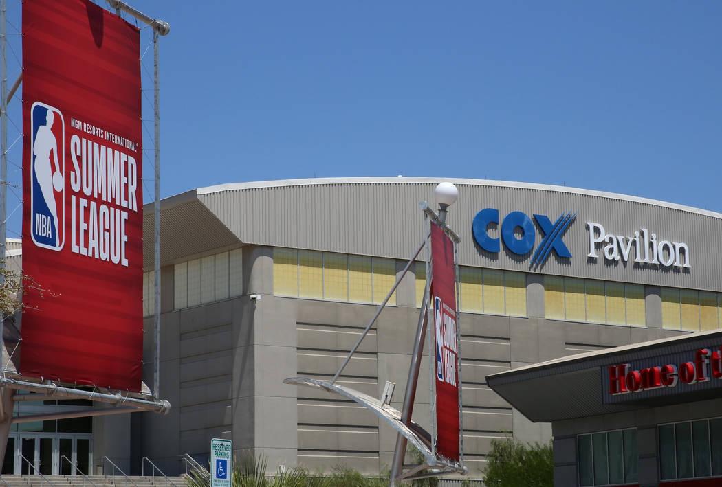 Summer League banners for the 2017 NBA Summer League outside COX Pavillion on Thursday, July 6, 2017. Bizuayehu Tesfaye/Las Vegas Review-Journal @bizutesfaye