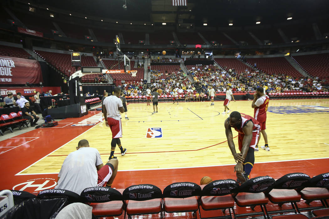 Cleveland Cavaliers players warm up before a basketball game against the Milwaukee Bucks at the NBA Summer League at the Thomas & Mack Center in Las Vegas on Friday, July 7, 2017. (Chase Steve ...