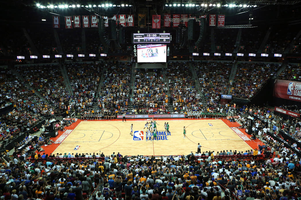 Attendees fill the stand for the Boston Celtics NBA Summer League game against the Los Angles Lakers on Sunday, July 9, 2017.This is the first sold out game in Las Vegas' NBA Summer L ...