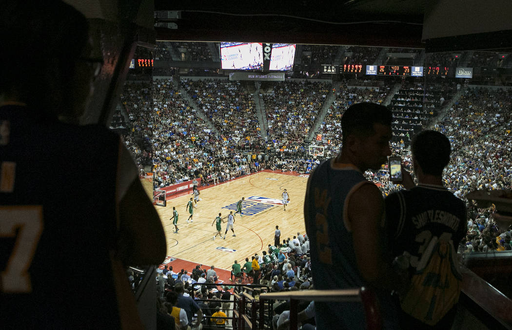 Attendees stand on the concourse as other fill the stand for the Boston Celtics NBA Summer League game against the Los Angles Lakers on Saturday, July 8, 2017.This is the first sold out game ...