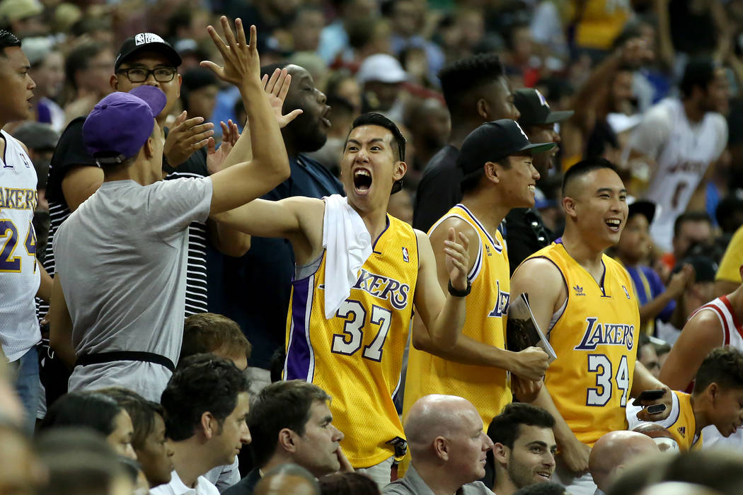 Los Angles Lakers fans react to a play during the team's NBA Summer League game against the Boston Celtics on Saturday, July 8, 2017.This is the first sold out game in Las Vegas' NBA  ...