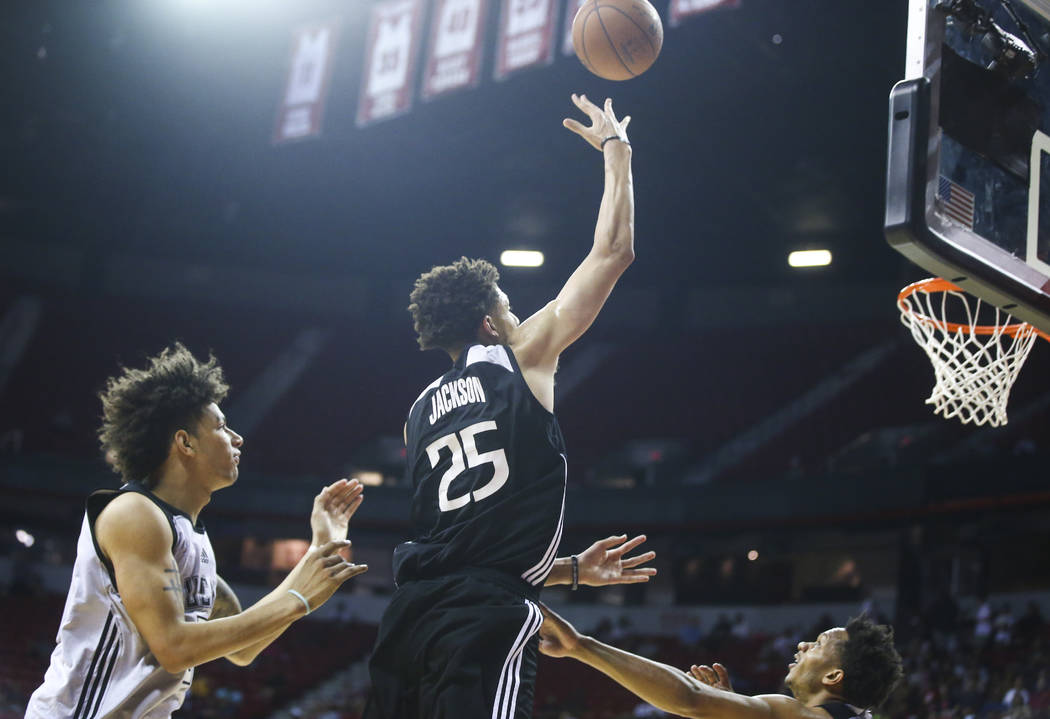 Sacramento Kings' Justin Jackson (25) sends up a shot against the Milwaukee Bucks during a basketball game at the NBA Summer League at the Thomas & Mack Center in Las Vegas on Wednesday, July  ...