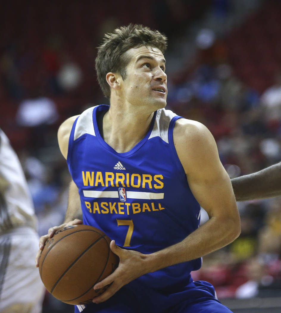 Golden State Warriors' Joe Rahon (7) drives against the Los Angeles Clippers during a basketball game at the NBA Summer League at the Thomas & Mack Center in Las Vegas on Friday, July 14, 2017 ...