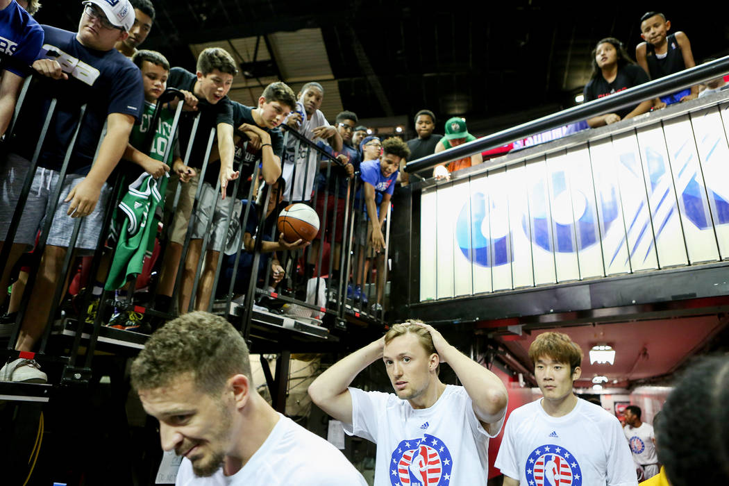 Players walk out for the Boston Celtics versus the Dallas Mavericks 2017 NBA Summer League game at Thomas & Mack in Las Vegas on Saturday, July 15, 2017. Bridget Bennett Las Vegas Review-Journ ...