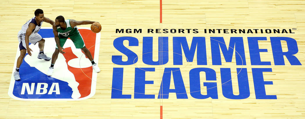 Dallas Mavericks guard Yogi Ferrell guards Boston Celtics guard Kadeem Allen as he attempts to bring the ball up the court during their 2017 NBA Summer League game at Thomas & Mack in Las Vega ...