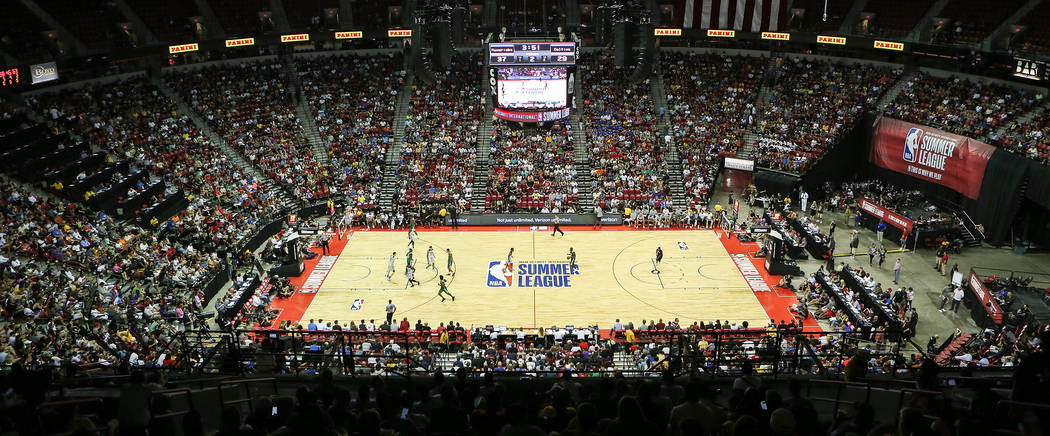 The Boston Celtics play the Dallas Mavericks during a 2017 NBA Summer League game at Thomas & Mack in Las Vegas on Saturday, July 15, 2017. Bridget Bennett Las Vegas Review-Journal @bridgetkbe ...
