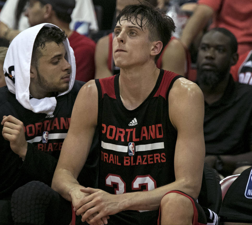 Portland Trail Blazers rookie Zach Collins on the bench during the Trail Blazers NBA Summer League game against the Utah Jazz at the Cox Pavilion in Las Vegas on Saturday, July 8, 2017. Gabriella  ...
