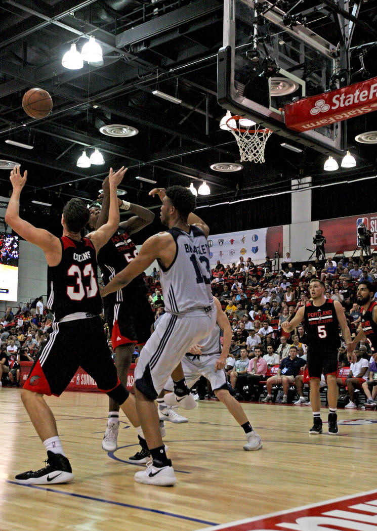 Portland Trail Blazers rookie Zach Collins (33) moves to catch a pass during the Trail Blazers NBA Summer League game against the Utah Jazz at the Cox Pavilion in Las Vegas on Saturday, July 8, 20 ...