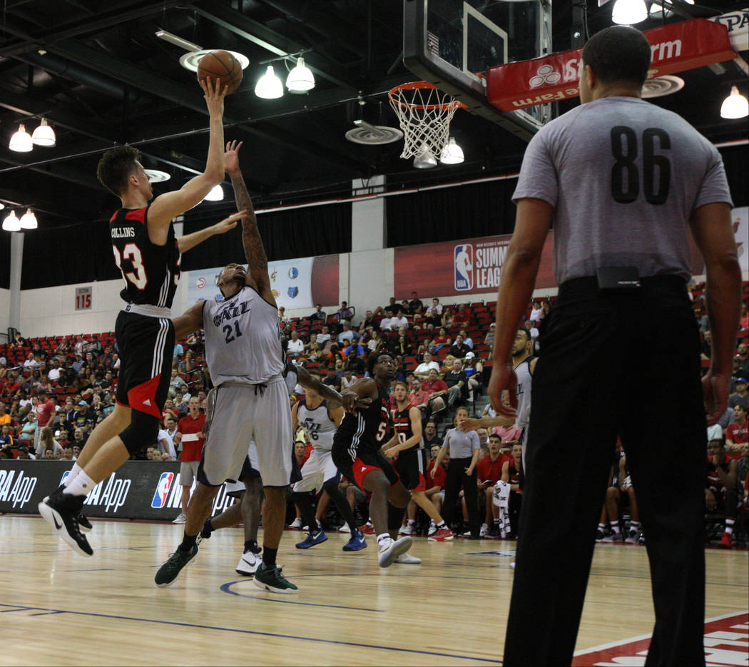 Portland Trail Blazers rookie Zach Collins (33) tries to score during the Trail Blazers NBA Summer League game against the Utah Jazz at the Cox Pavilion in Las Vegas on Saturday, July 8, 2017. Gab ...