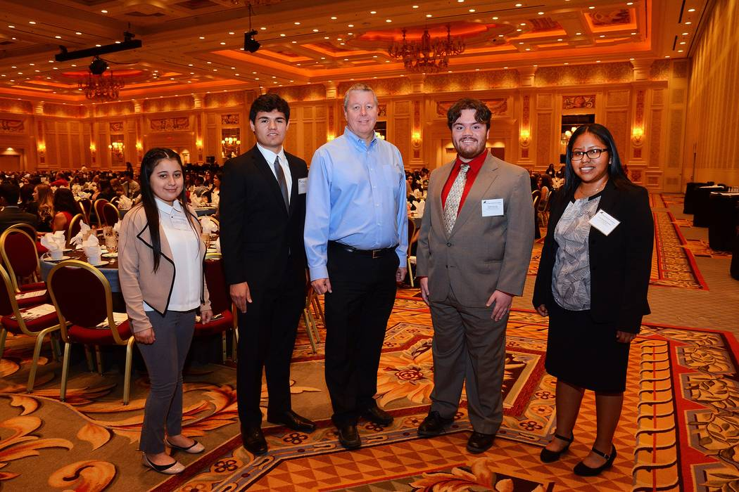 Pardee Homes Vice President of Land and Forward Planning Dan Hale, center, is pictured with the 2017 Pardee scholarship recipients, from left, Melany Mejia, Cody Felix, Nathaniel Long and Cecia Ru ...