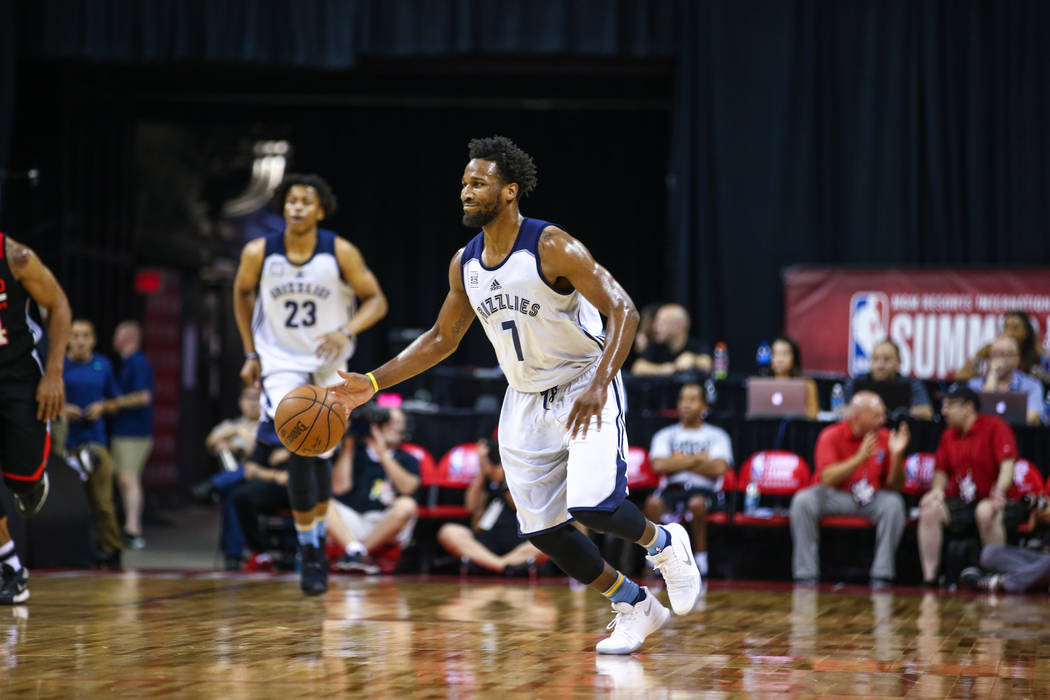 Memphis Grizzlies player Wayne Selden Jr. during the NBA Summer League semifinal basketball game at Thomas and Mack Center on Sunday, July 16, 2017, in Las Vegas.