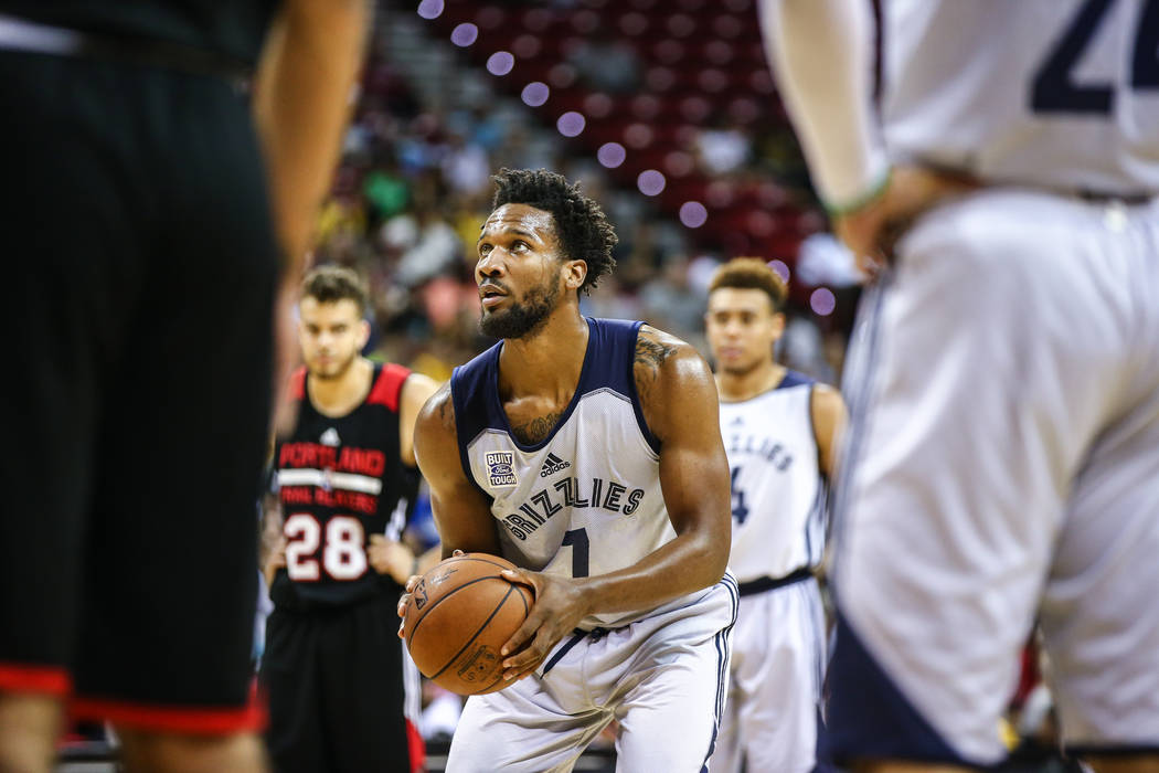 Memphis Grizzlies player Wayne Selden Jr. (7) during the NBA Summer League semifinal basketball game at Thomas and Mack Center on Sunday, July 16, 2017, in Las Vegas.