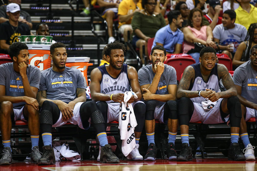 Memphis Grizzlies player Wayne Selden Jr. ,third from left, during the NBA Summer League semifinal game at Thomas and Mack Center on Sunday, July 16, 2017, in Las Vegas.