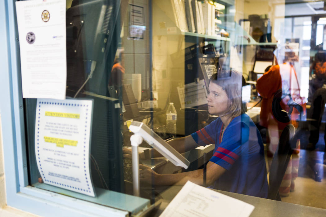 Dispatcher Alex Grantham, who took the 911 call during the 2016 Panaca bombing, works at the Lincoln County Sheriff's Office in Pioche on June 13, 2017. (Elizabeth Brumley/The Las Vegas Review-Jou ...