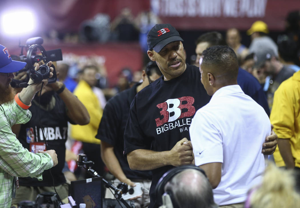 LaVar Ball, father of Los Angeles LakersՠLonzo Ball, center, at halftime during a basketball game between the Lakers and Los Angeles Clippers at the NBA Summer League at the Thomas & Mac ...