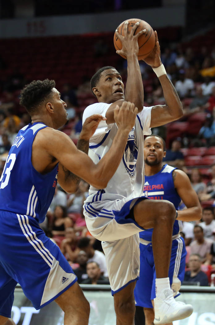 Golden State Warriors guard Patrick McCaw goes up for a basket during the Warriors NBA Summer League game against the Philadelphia 76ers at Thomas and Mack Center in Las Vegas on Saturda ...