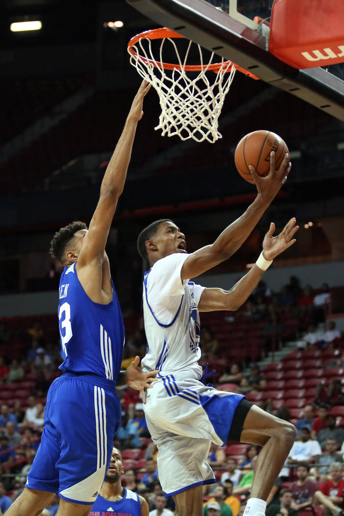 Golden State Warriors guard Patrick McCaw goes up for a basket during the WarriorsNBA Summer League game against the Philadelphia 76ersat Thomas and Mack Center in Las Vegas on Saturda ...