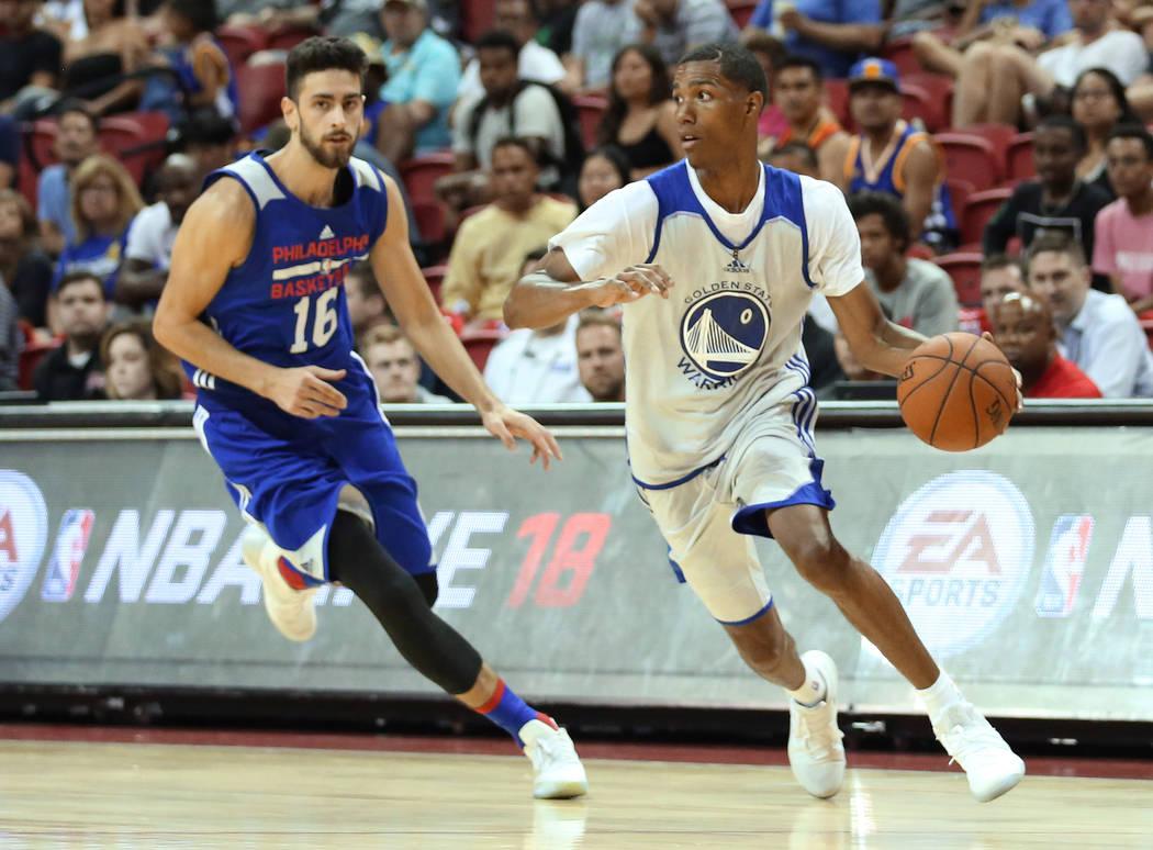 Golden State Warriors guard Patrick McCaw looks for a pass during the WarriorsNBA Summer League game against the Philadelphia 76ersat Thomas and Mack Center in Las Vegas on Saturday, J ...