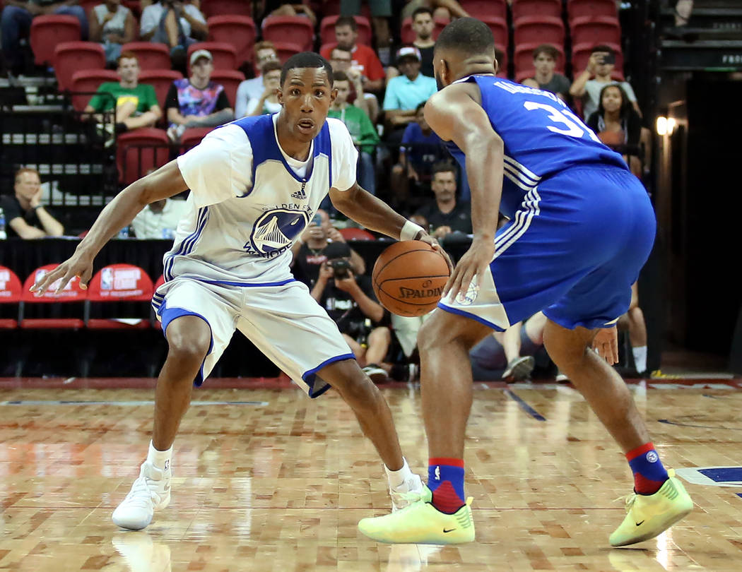 Golden State Warriors guard Patrick McCaw travels up the court during the WarriorsNBA Summer League game against the Philadelphia 76ersat Thomas and Mack Center in Las Vegas on Saturda ...