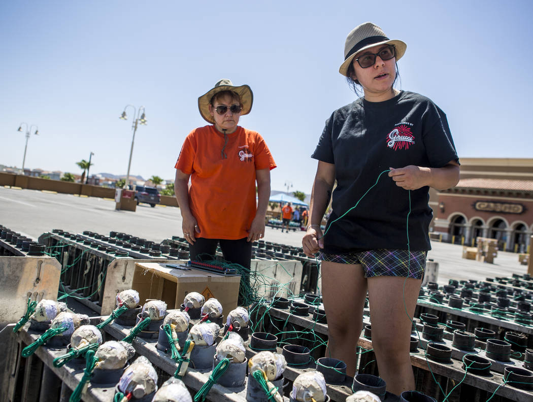 Krystal Vertichio, right, and Ana Lopez set up a Grucci fireworks display to be set off on July 4 at Green Valley Ranch Resort in Henderson on Monday, July 3, 2017. (Patrick Connolly/Las Vegas Rev ...