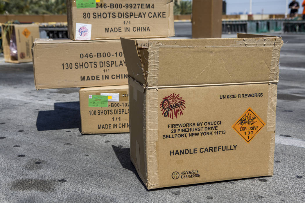 Boxes containing Grucci fireworks for a display that will be set off on July 4 at Green Valley Ranch Resort in Henderson on Monday, July 3, 2017. (Patrick Connolly/Las Vegas Review-Journal) @PConnPie
