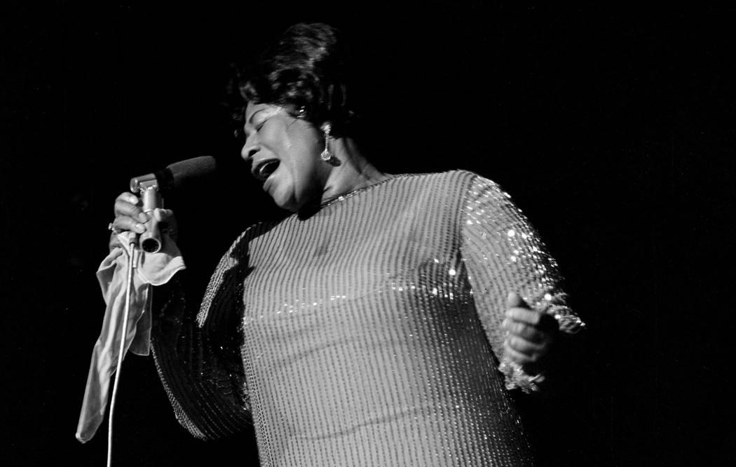 Ella Fitzgerald performs at the Flamingo in Las Vegas, Nevada on May 19, 1967. Joe Buck/Las Vegas News Bureau